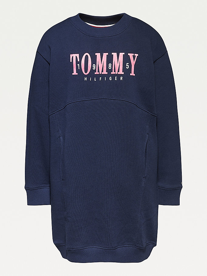 robe-sweat en coton bio bleu pour girls tommy hilfiger