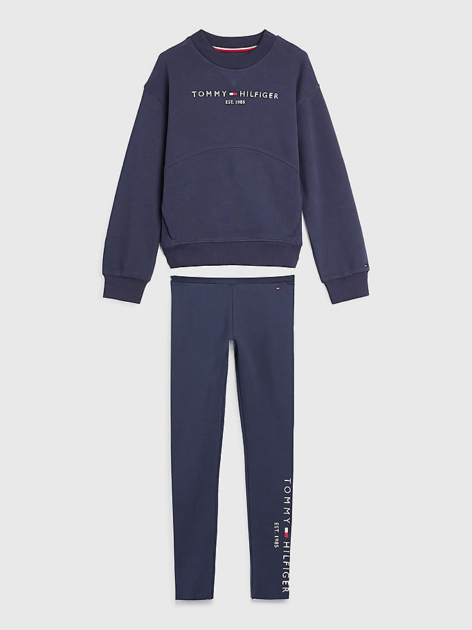 blue essential sweatshirt and leggings set for girls tommy hilfiger