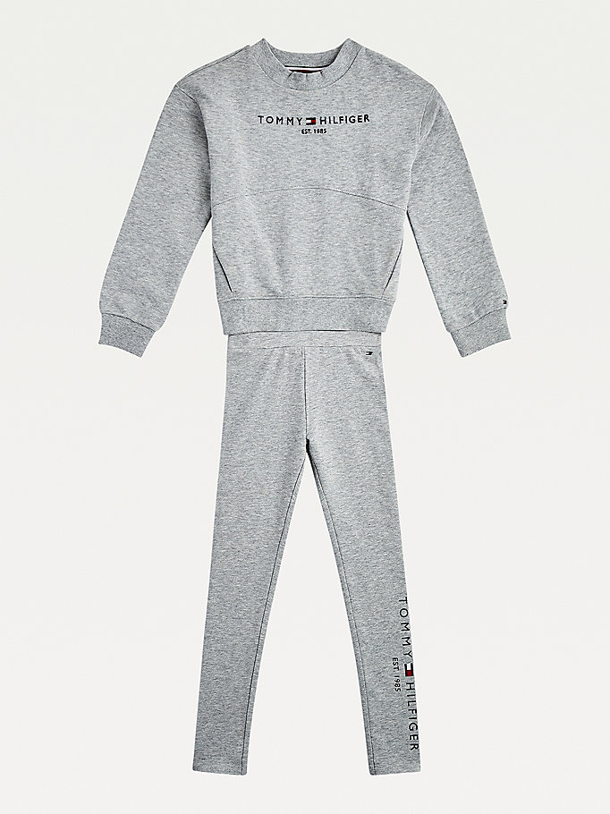 grey essential sweatshirt and leggings set for girls tommy hilfiger