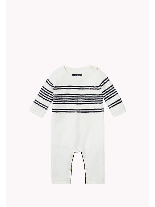 Striped Coverall - MARSHMALLOW/NAVY BLAZER - TOMMY HILFIGER Babies - main image
