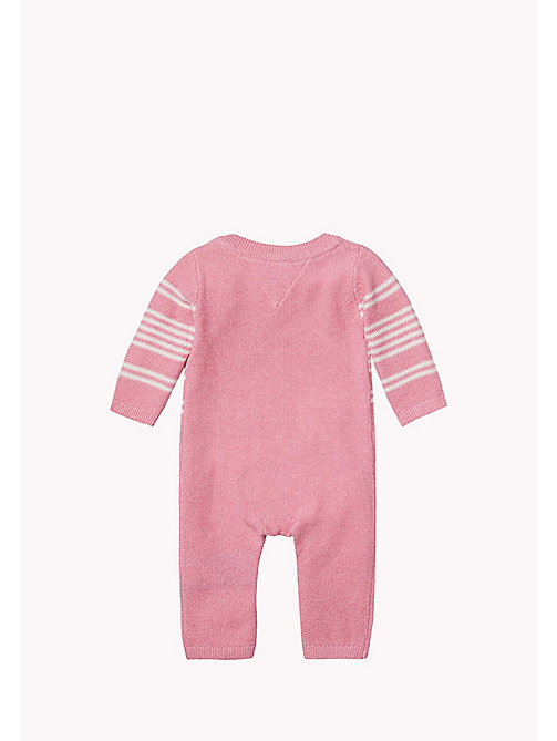 Striped Coverall - PINK HTR/MARSHMALLOW - TOMMY HILFIGER Babies - detail image 1