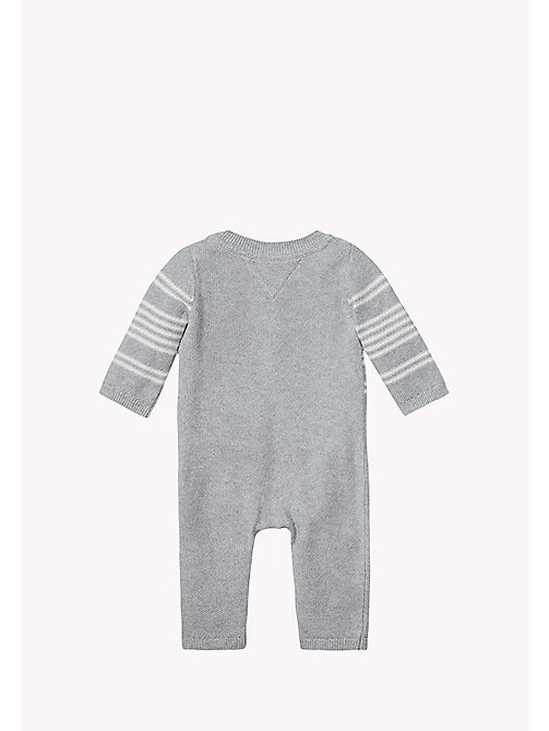 TOMMY HILFIGER Gestreifter Overall - GREY HTR/MARSHMALLOW - TOMMY HILFIGER Kinder - main image 1
