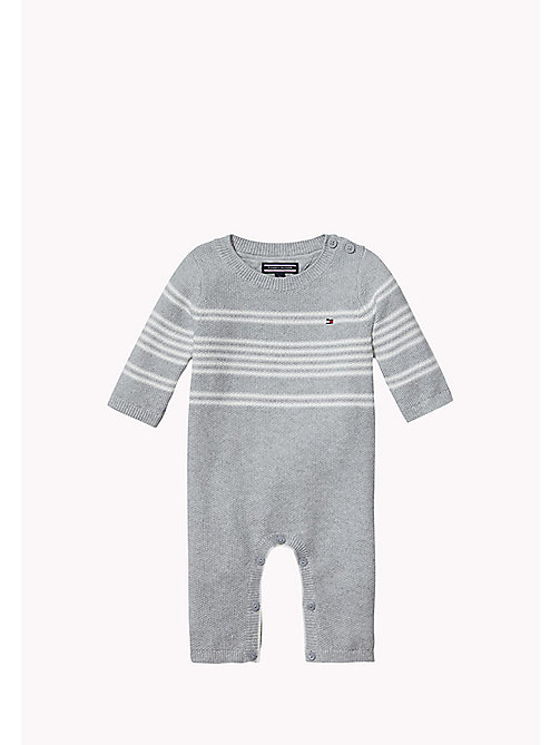 Striped Coverall - GREY HTR/MARSHMALLOW - TOMMY HILFIGER Babies - main image