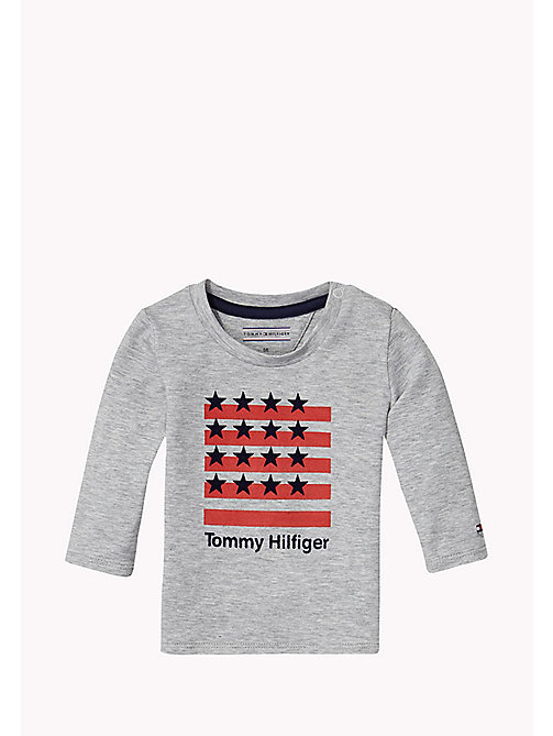 Long-sleeve Print T-shirt - GREY HEATHER - TOMMY HILFIGER Babies - main image