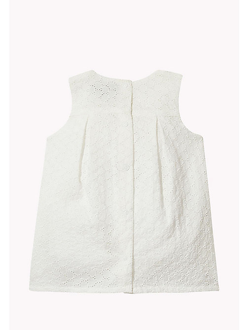TOMMY HILFIGER Flower Embroidery Cotton Dress - BRIGHT WHITE - TOMMY HILFIGER Kids - detail image 1