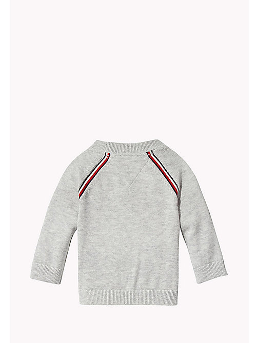 TOMMY HILFIGER Signature Stripe Cardigan - LIGHT GREY HTR - TOMMY HILFIGER Kids - detail image 1