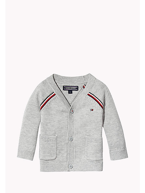 TOMMY HILFIGER Signature Stripe Cardigan - LIGHT GREY HTR - TOMMY HILFIGER Kids - main image