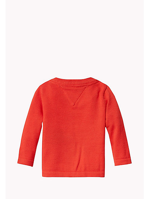 TOMMY HILFIGER Textured Cotton Cardigan - FLAME SCARLET - TOMMY HILFIGER Kids - detail image 1