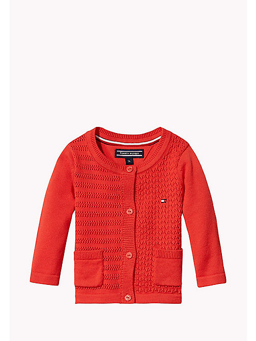 TOMMY HILFIGER Textured Cotton Cardigan - FLAME SCARLET - TOMMY HILFIGER Girls - main image