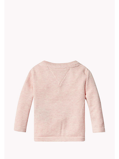 TOMMY HILFIGER Textured Cotton Cardigan - PEACHSKIN HTR - TOMMY HILFIGER Girls - detail image 1
