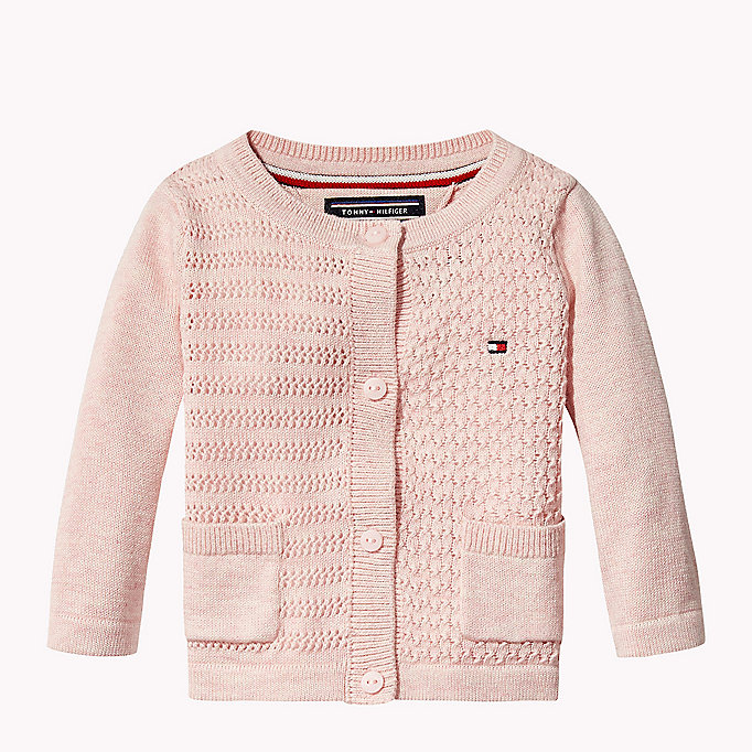 TOMMY HILFIGER Textured Cotton Cardigan - FLAME SCARLET - TOMMY HILFIGER Kids - main image
