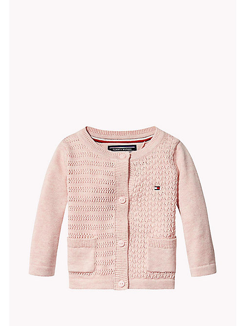 TOMMY HILFIGER Textured Cotton Cardigan - PEACHSKIN HTR - TOMMY HILFIGER Girls - main image