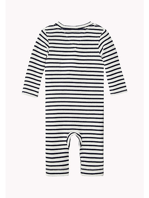 Ribbed Stripe Baby Coverall - BLACK IRIS - TOMMY HILFIGER Kids - detail image 1