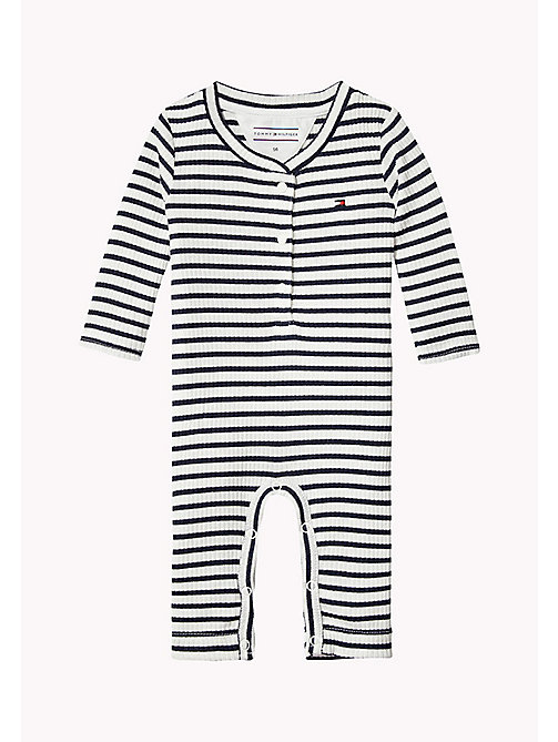 Ribbed Stripe Baby Coverall - BLACK IRIS - TOMMY HILFIGER Kids - main image