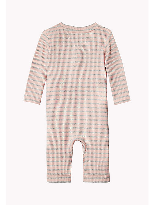 TOMMY HILFIGER Ribbed Stripe Baby Coverall - PEACHSKIN - TOMMY HILFIGER Girls - detail image 1