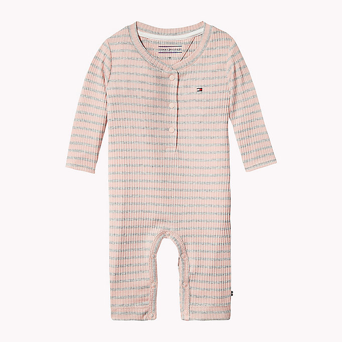 TOMMY HILFIGER Ribbed Stripe Baby Coverall - BLACK IRIS - TOMMY HILFIGER Babies - main image
