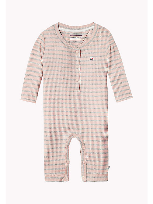 TOMMY HILFIGER Ribbed Stripe Baby Coverall - PEACHSKIN - TOMMY HILFIGER Girls - main image