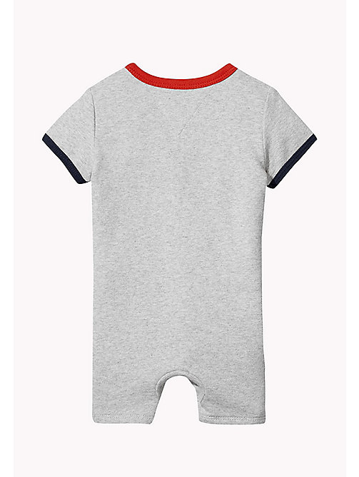 TOMMY HILFIGER Contrast Cotton Romper - LIGHT GREY HTR - TOMMY HILFIGER Kids - detail image 1