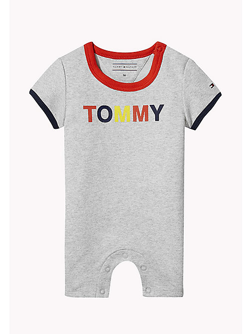 TOMMY HILFIGER Contrast Cotton Romper - LIGHT GREY HTR - TOMMY HILFIGER Babies - main image