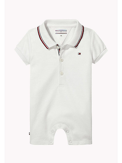 TOMMY HILFIGER Baby Polo Romper - BRIGHT WHITE - TOMMY HILFIGER Boys - main image