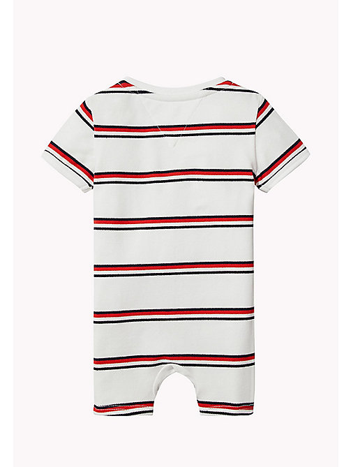 TOMMY HILFIGER Signature Stripe Romper - BRIGHT WHITE - TOMMY HILFIGER Kids - detail image 1