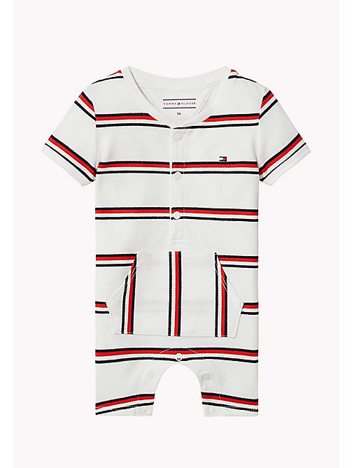 TOMMY HILFIGER Signature Stripe Romper - BRIGHT WHITE - TOMMY HILFIGER Boys - main image