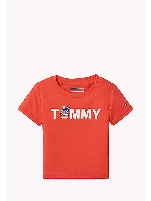 TOMMY HILFIGER T-shirt neonato con logo - FLAME SCARLET - TOMMY HILFIGER Neonato - immagine principale