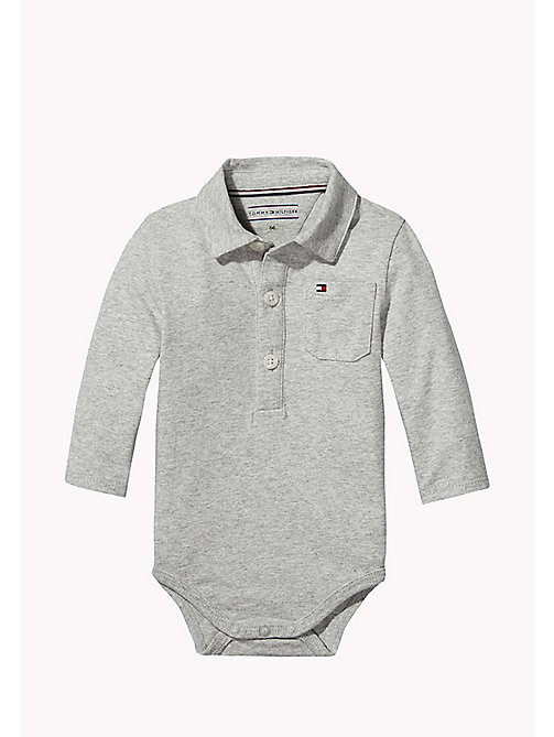 TOMMY HILFIGER Long Sleeved Bodysuit - LIGHT GREY HTR - TOMMY HILFIGER Babies - main image