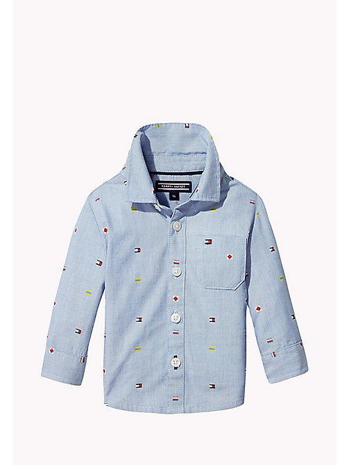 TOMMY HILFIGER Flag Embroidery Shirt - BRIGHT COBALT -  Boys - main image