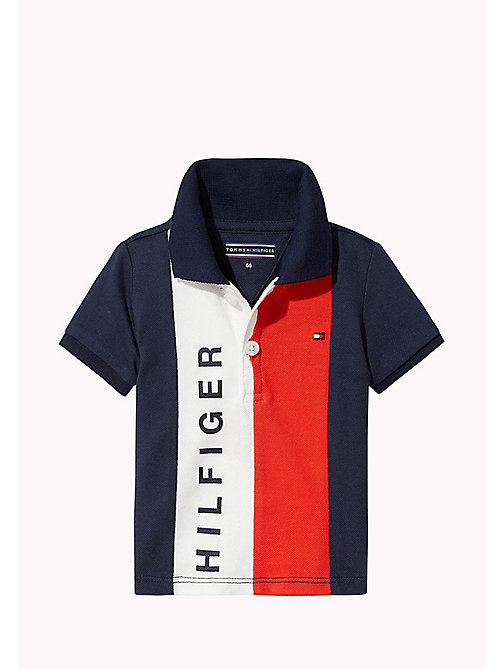 TOMMY HILFIGER Stripe Baby Polo Shirt - BLACK IRIS - TOMMY HILFIGER Boys - main image