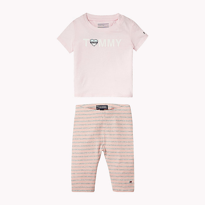 TOMMY HILFIGER Cotton Two-Piece Gift Set - BRIGHT WHITE - TOMMY HILFIGER Babies - main image