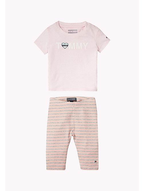 TOMMY HILFIGER Cotton Two-Piece Gift Set - PEACHSKIN HTR - TOMMY HILFIGER Girls - main image