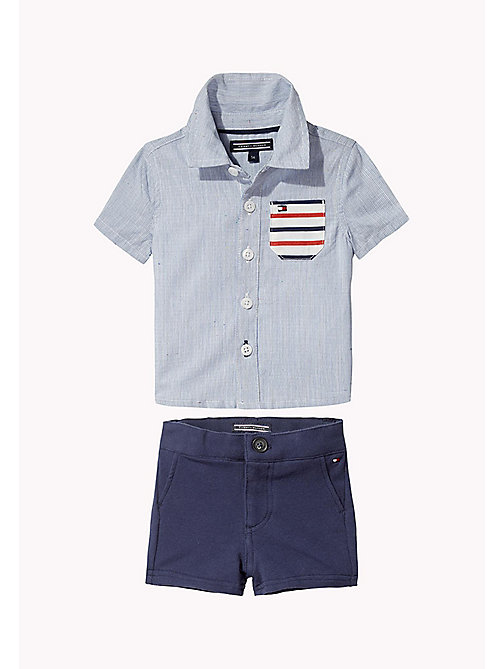 TOMMY HILFIGER Baby Short and Shirt Two Piece - STRATOSPHERE - TOMMY HILFIGER Boys - main image