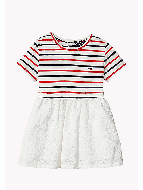 TOMMY HILFIGER Stripe Cotton Dress - FLAME SCARLET - TOMMY HILFIGER Kids - main image