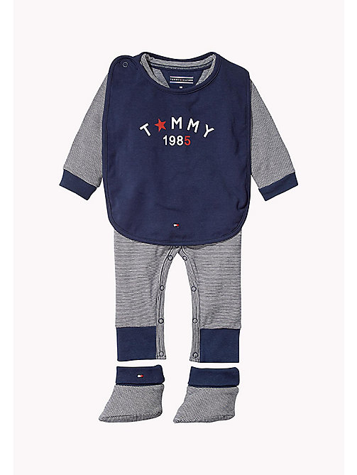 TOMMY HILFIGER Playsuit, Bib and Booties Gift Set - NAVY BLAZER - TOMMY HILFIGER Babies - main image