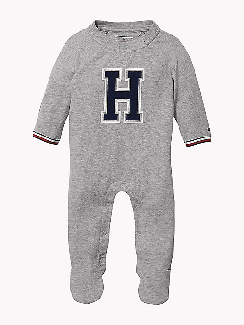 TOMMY HILFIGER Varsity Babygrow - GREY HEATHER - TOMMY HILFIGER Boys - main image