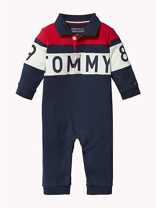 TOMMY HILFIGER Colour-Blocked Logo Babygrow - BLACK IRIS / MULTI - TOMMY HILFIGER Babies - main image