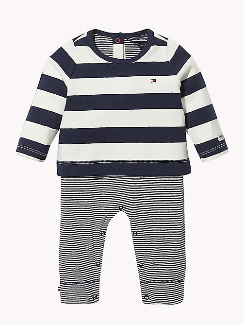 TOMMY HILFIGER Baby Stripe Babygrow - BLACK IRIS - TOMMY HILFIGER Babies - main image