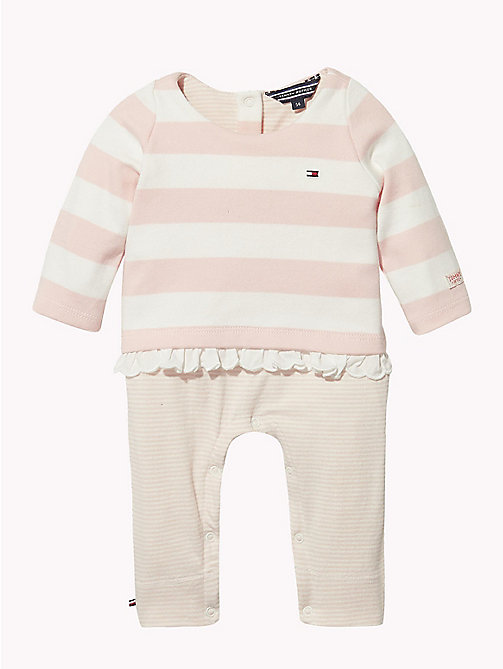 TOMMY HILFIGER Baby Stripe Babygrow - STRAWBERRY CREAM - TOMMY HILFIGER Babies - main image