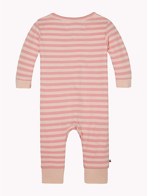 TOMMY HILFIGER Baby Stripe Babygrow - STRAWBERRY CREAM - TOMMY HILFIGER Girls - detail image 1
