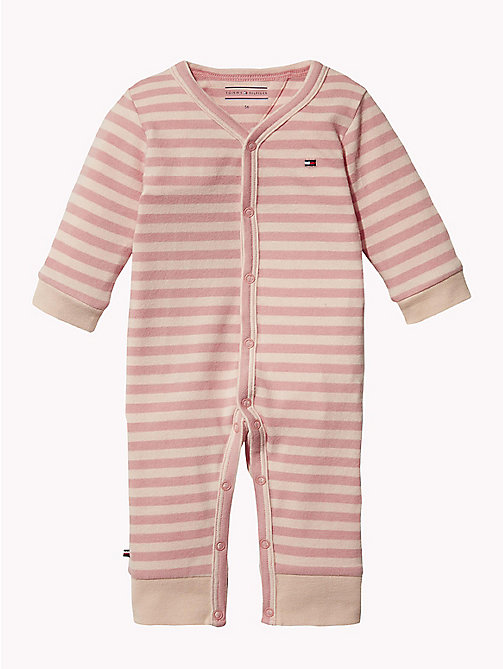 TOMMY HILFIGER BABY DOUBLE STRIPE COVERALL - STRAWBERRY CREAM - TOMMY HILFIGER Neonata - immagine principale