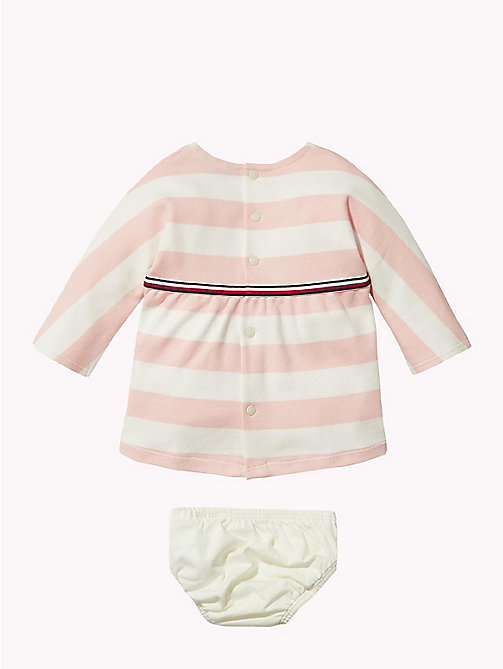 TOMMY HILFIGER Baby Rugby Stripe Dress - STRAWBERRY CREAM - TOMMY HILFIGER Babies - detail image 1