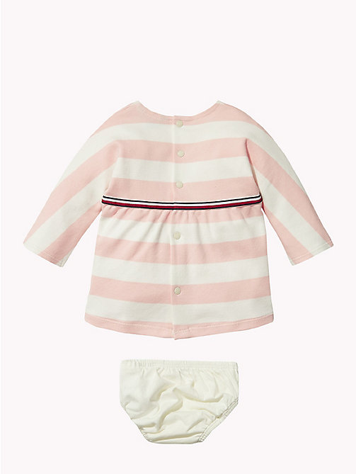TOMMY HILFIGER Baby Rugby Stripe Dress - STRAWBERRY CREAM - TOMMY HILFIGER Girls - detail image 1