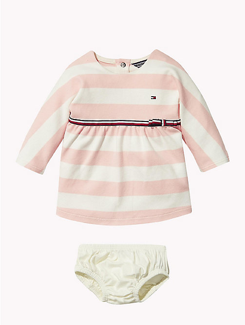 TOMMY HILFIGER Baby Rugby Stripe Dress - STRAWBERRY CREAM - TOMMY HILFIGER Girls - main image