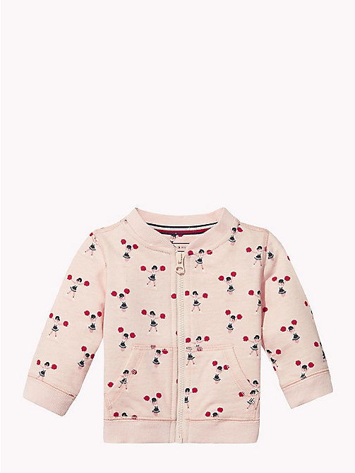 TOMMY HILFIGER Baby Printed Zip Sweatshirt - STRAWBERRY CREAM - TOMMY HILFIGER Girls - main image