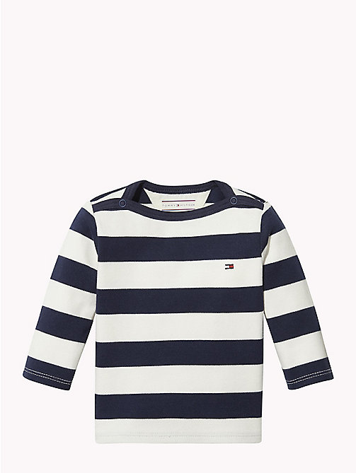 TOMMY HILFIGER Baby Rugby Stripe Cotton Top - BLACK IRIS / MARSHMALLOW - TOMMY HILFIGER Boys - main image