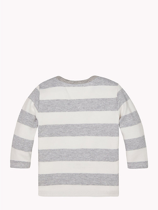 TOMMY HILFIGER Baby Rugby Stripe Cotton Top - GREY HEATHER/MARSHMALLOW - TOMMY HILFIGER Babies - detail image 1