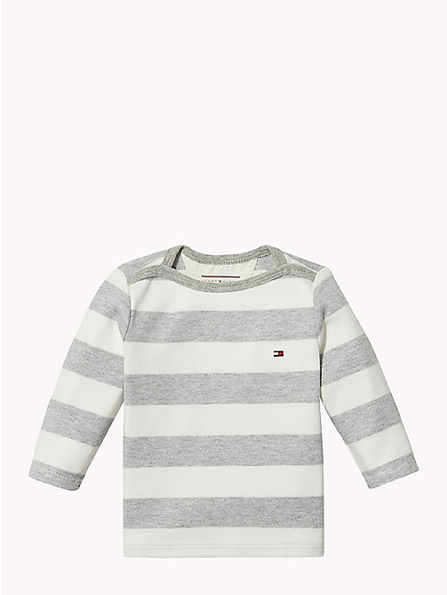 TOMMY HILFIGER Baby Rugby Stripe Cotton Top - GREY HEATHER/MARSHMALLOW - TOMMY HILFIGER Babies - main image