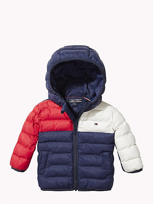 TOMMY HILFIGER Baby Colour-Blocked Puffer Jacket - BLACK IRIS/MULTI - TOMMY HILFIGER Babies - main image