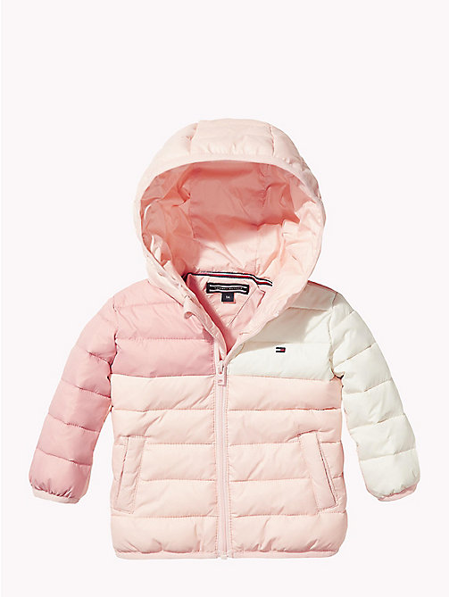 TOMMY HILFIGER Baby Colour-Blocked Puffer Jacket - STRAWBERRY CREAM/MULTI - TOMMY HILFIGER Girls - main image